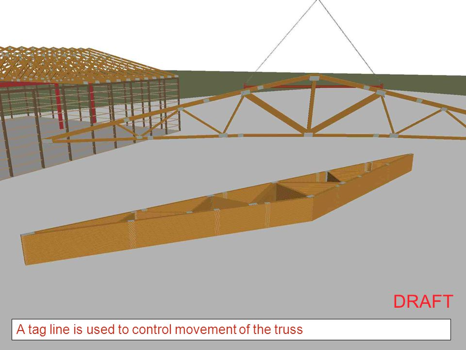 DRAFT A tag line is used to control movement of the truss
