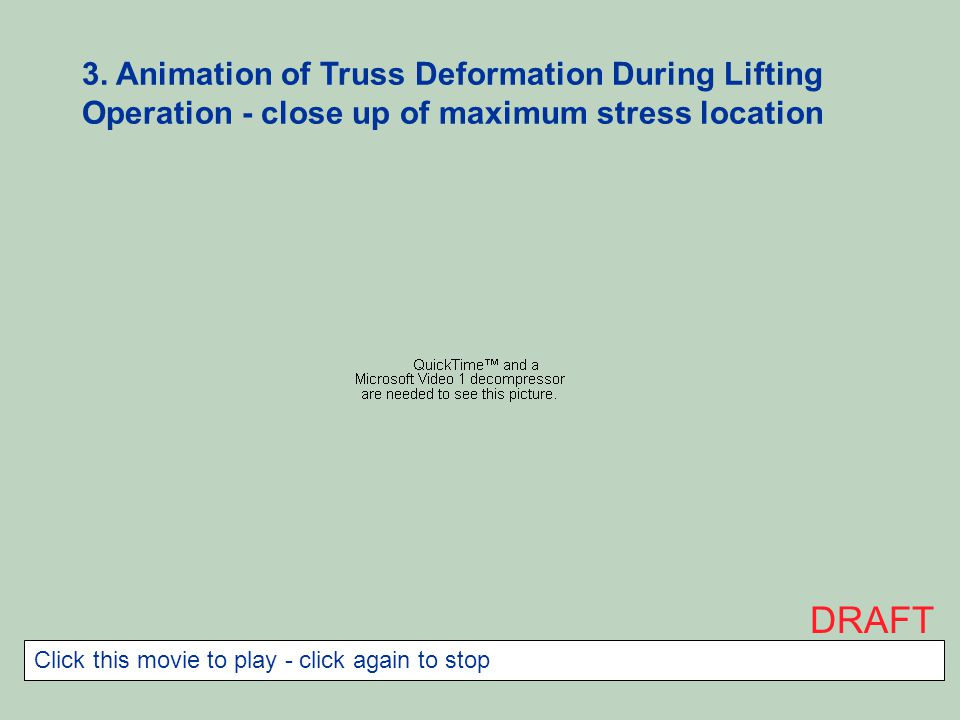 3. Animation of Truss Deformation During Lifting Operation - close up of maximum stress location