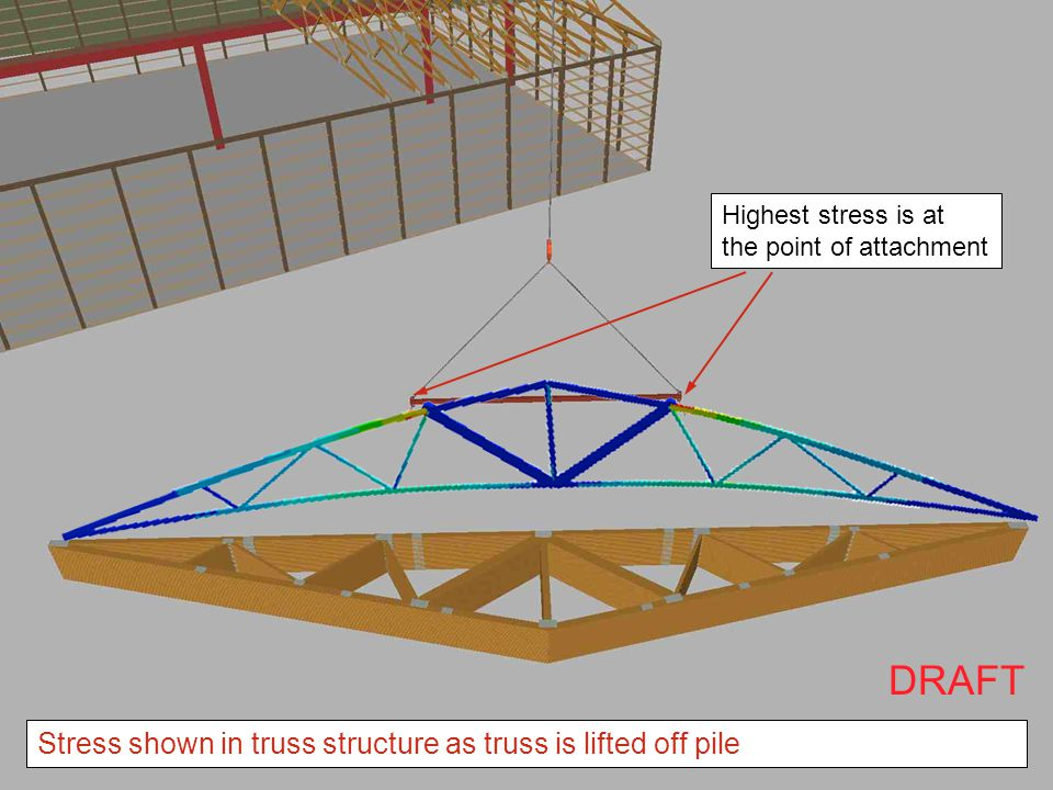 DRAFT Stress shown in truss structure as truss is lifted off pile