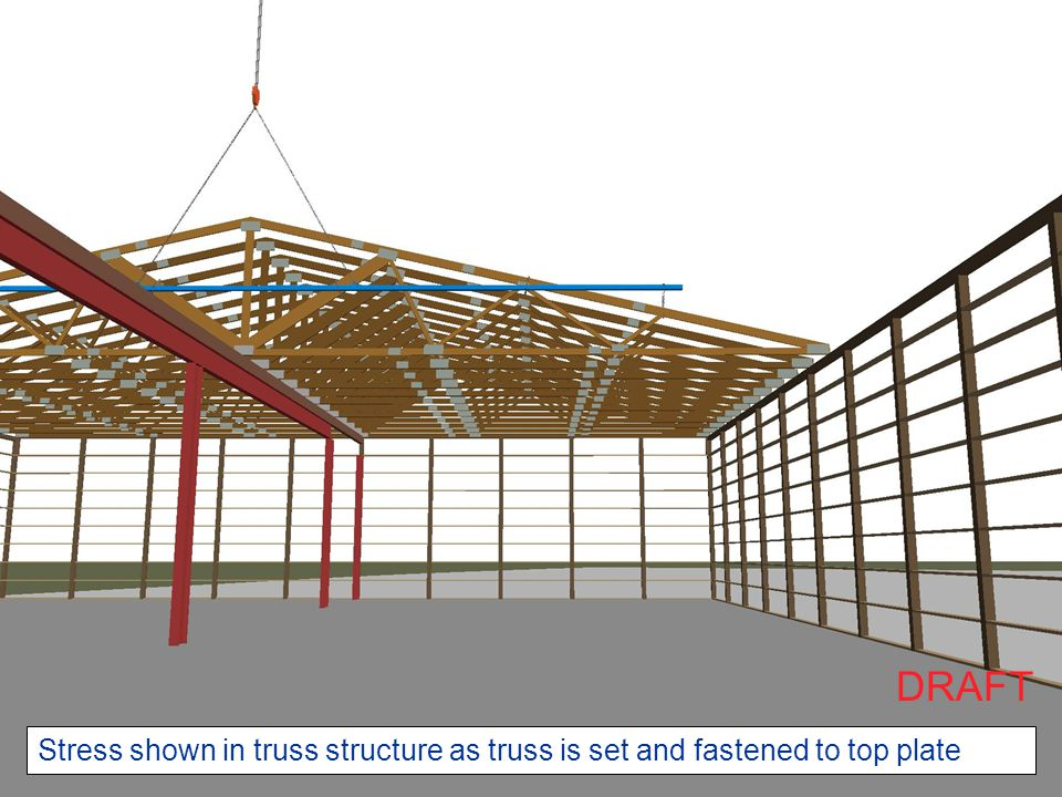 Show truss with color coded stress values