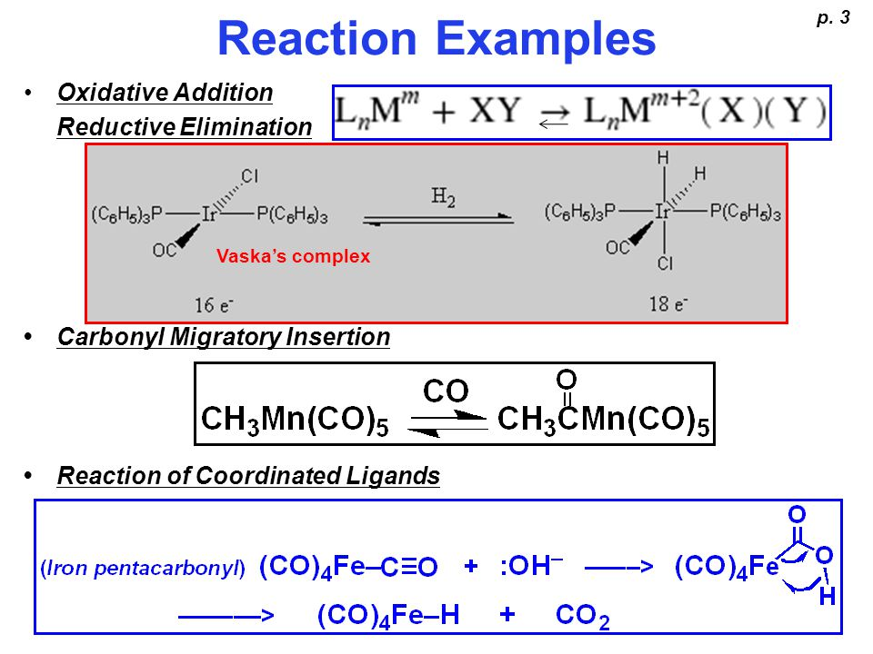 Reaction Examples Oxidative Addition Reductive Elimination