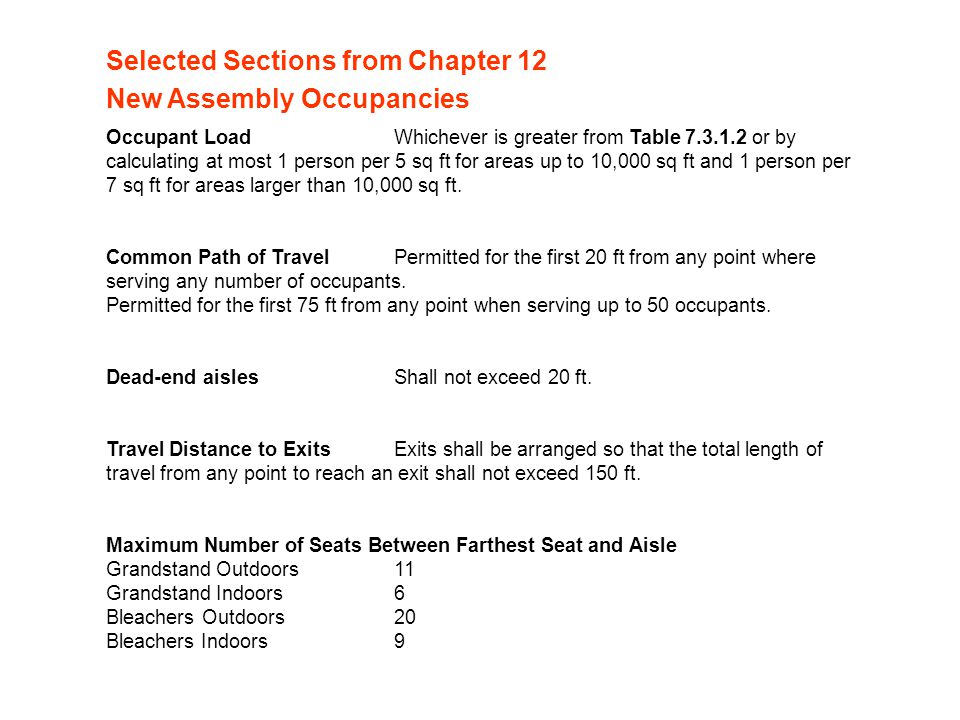 Selected Sections from Chapter 12 New Assembly Occupancies
