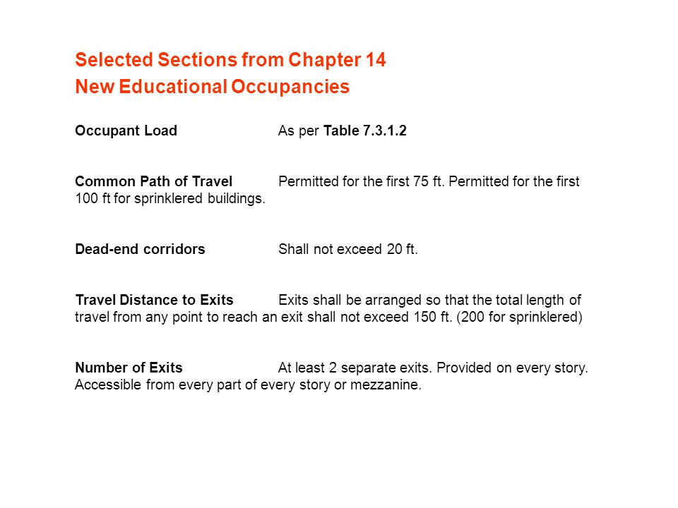 Selected Sections from Chapter 14 New Educational Occupancies
