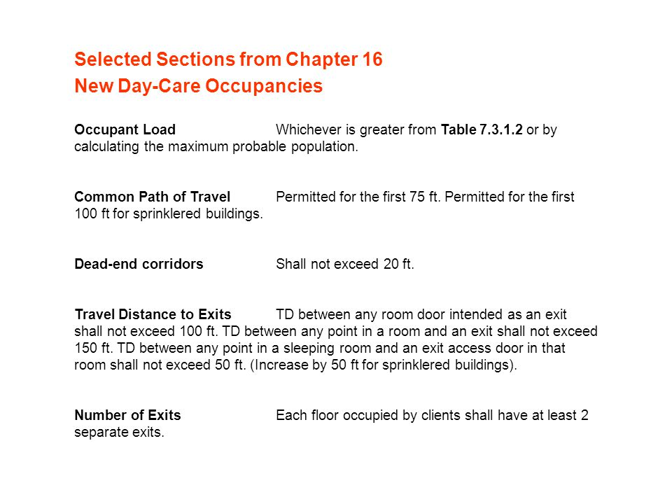 Selected Sections from Chapter 16 New Day-Care Occupancies