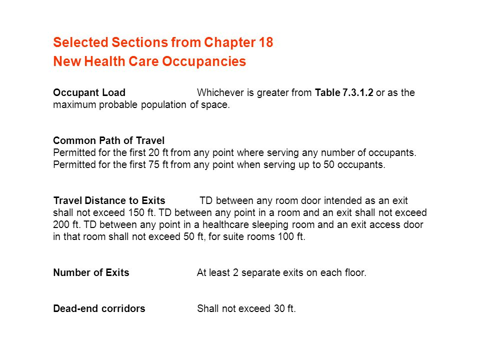 Selected Sections from Chapter 18 New Health Care Occupancies