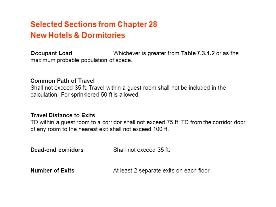 Selected Sections from Chapter 28 New Hotels & Dormitories