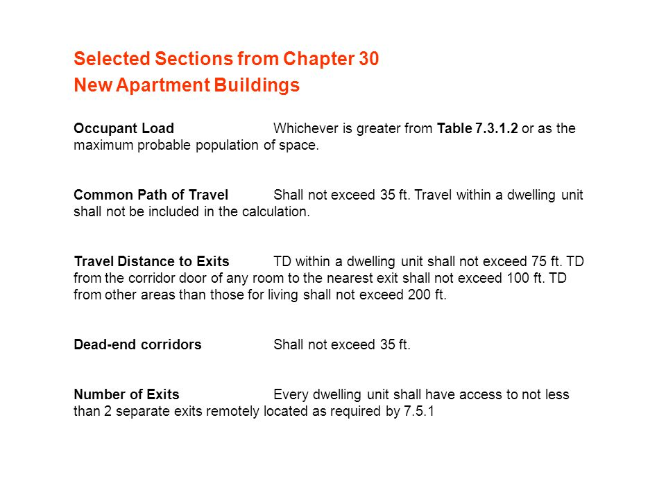 Selected Sections from Chapter 30 New Apartment Buildings