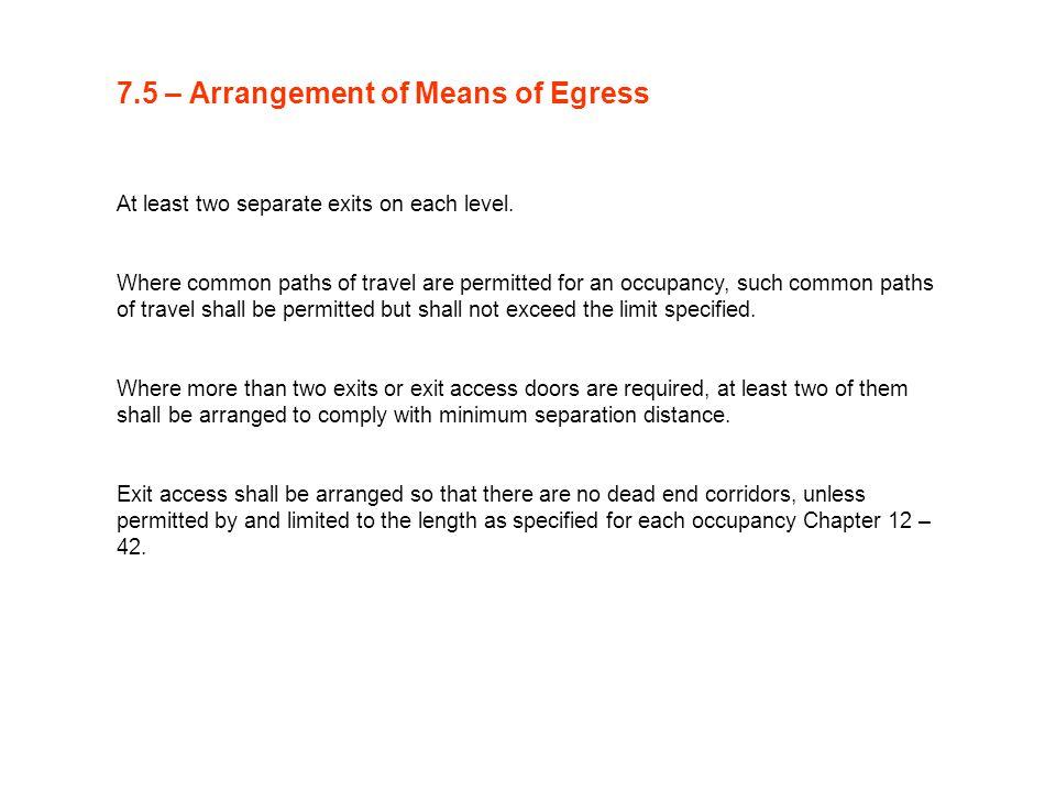 7.5 – Arrangement of Means of Egress