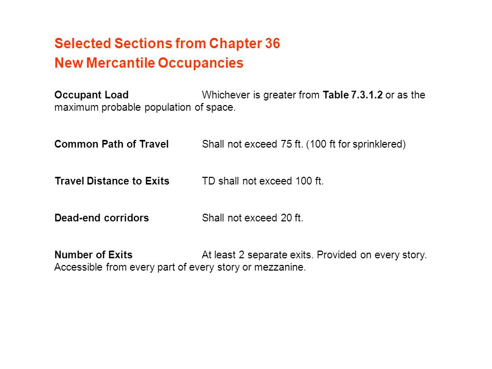 Selected Sections from Chapter 36 New Mercantile Occupancies