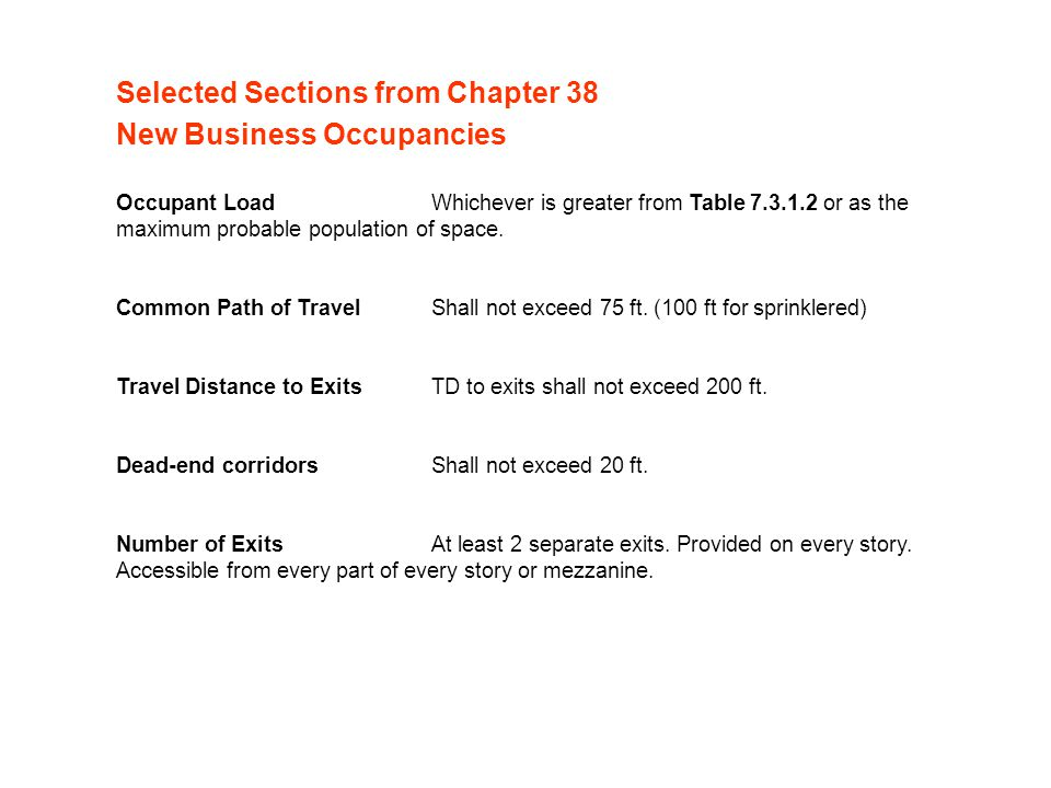 Selected Sections from Chapter 38 New Business Occupancies