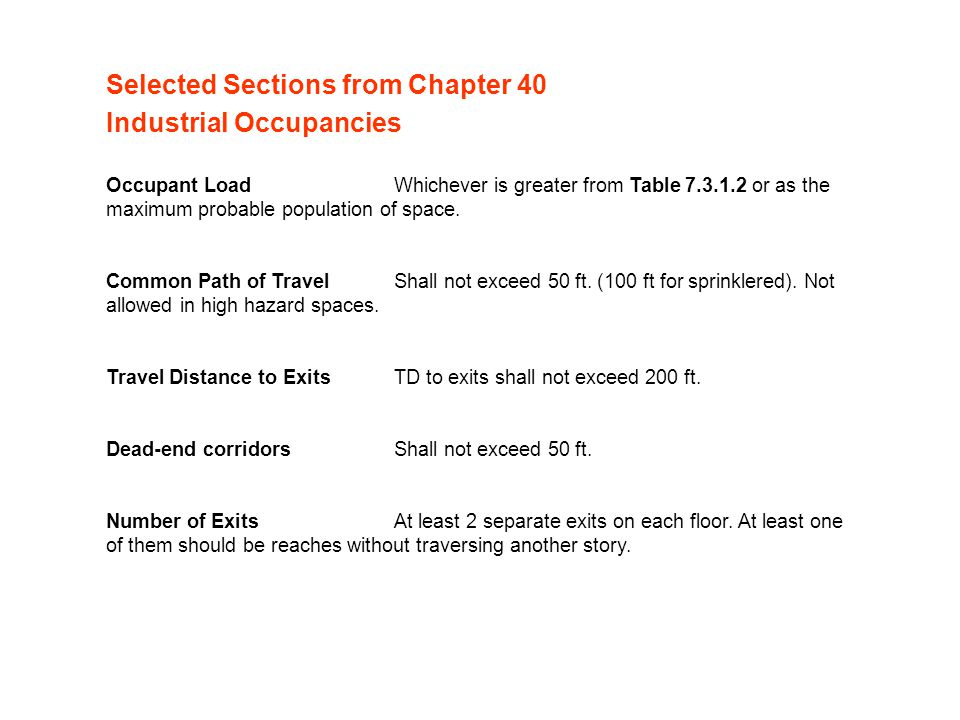 Selected Sections from Chapter 40 Industrial Occupancies