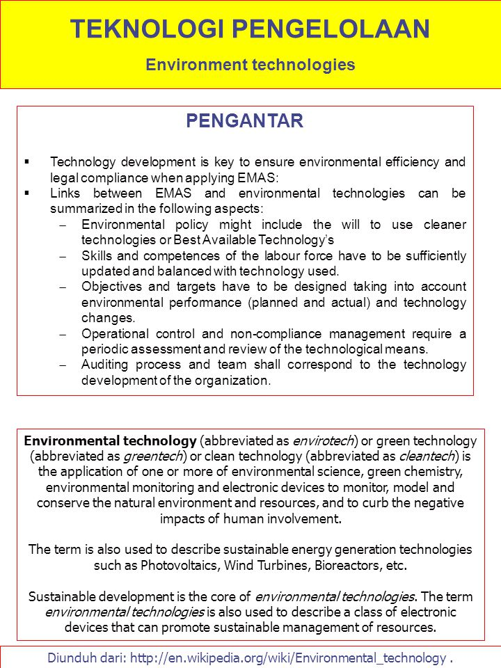 TEKNOLOGI PENGELOLAAN Environment technologies
