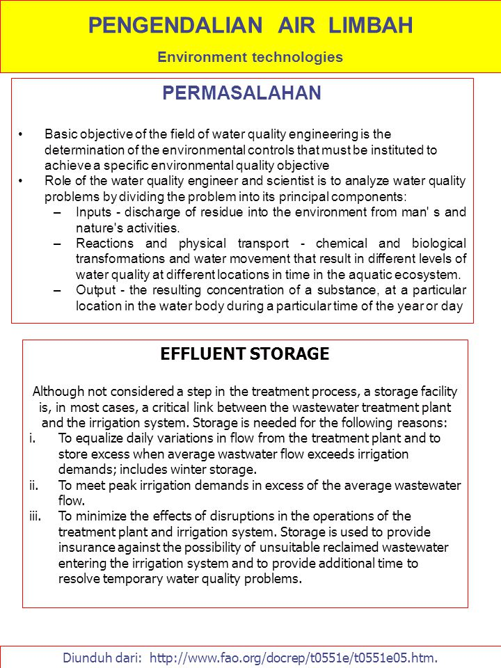 PENGENDALIAN AIR LIMBAH Environment technologies