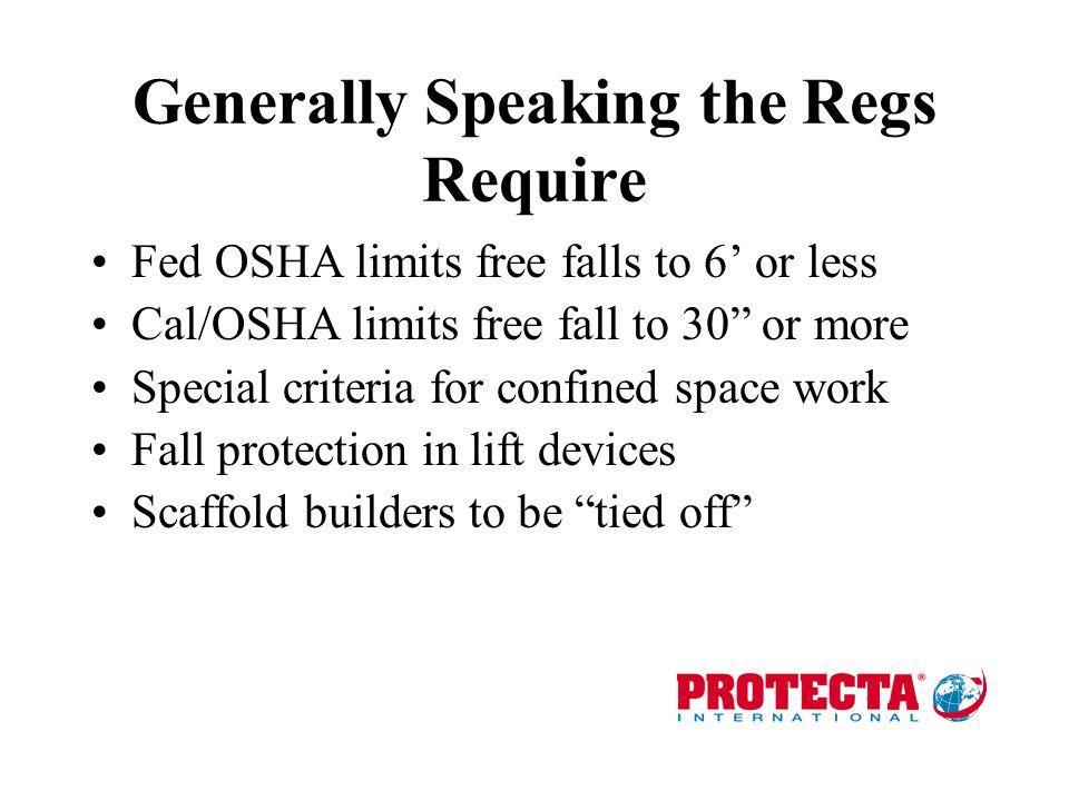 Generally Speaking the Regs Require