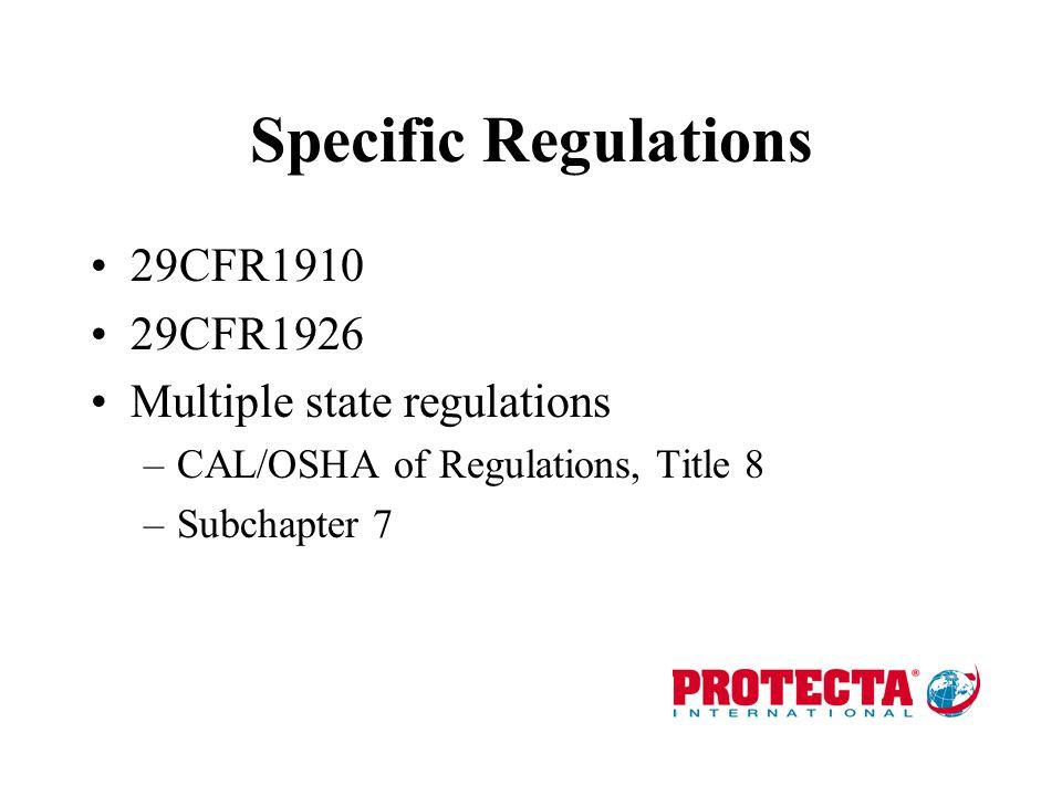 Specific Regulations 29CFR1910 29CFR1926 Multiple state regulations