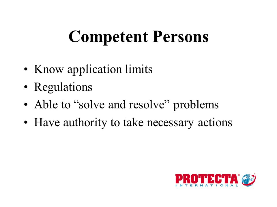 Competent Persons Know application limits Regulations