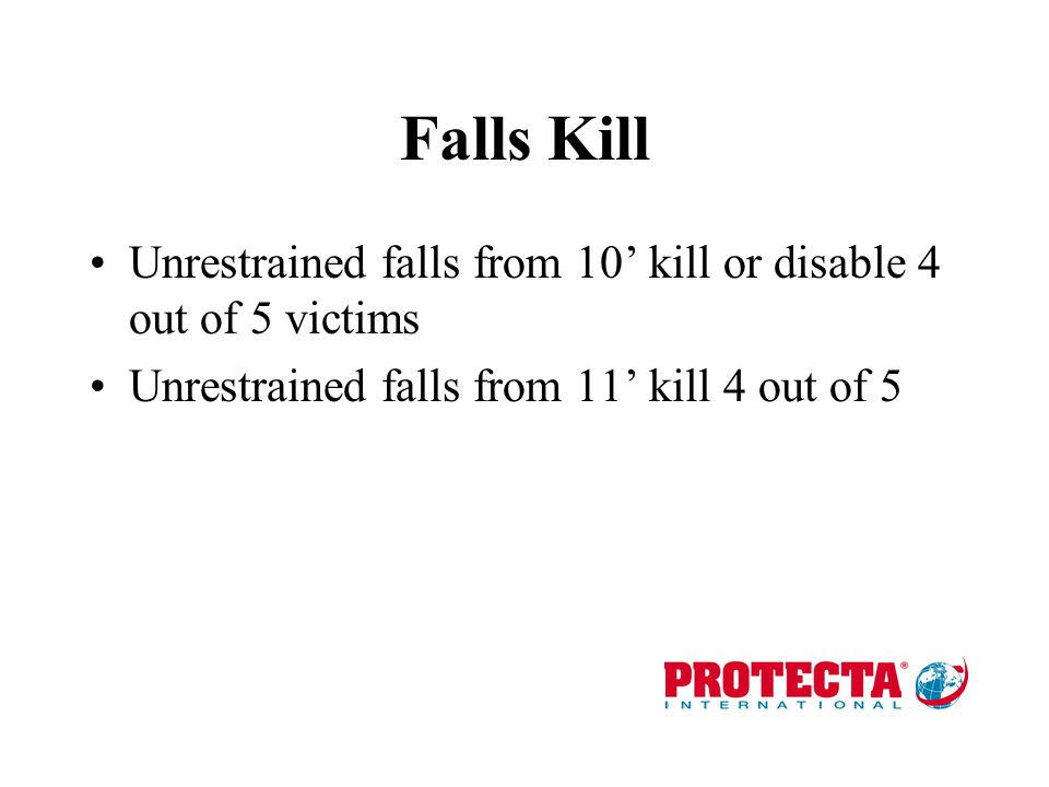 Falls Kill Unrestrained falls from 10' kill or disable 4 out of 5 victims.
