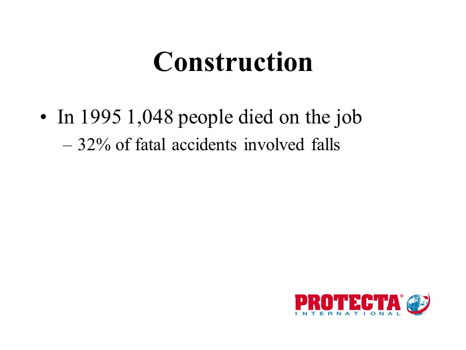 Construction In 1995 1,048 people died on the job