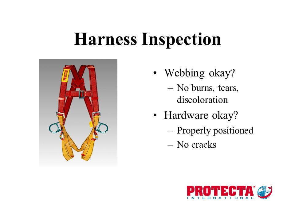 Harness Inspection Webbing okay Hardware okay