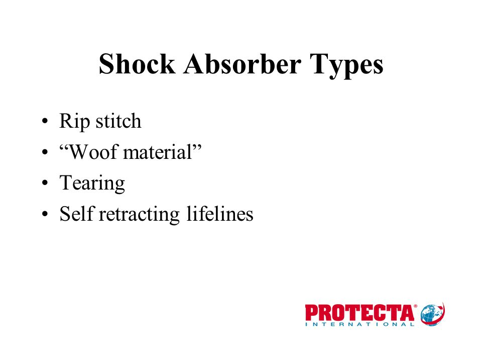 Shock Absorber Types Rip stitch Woof material Tearing