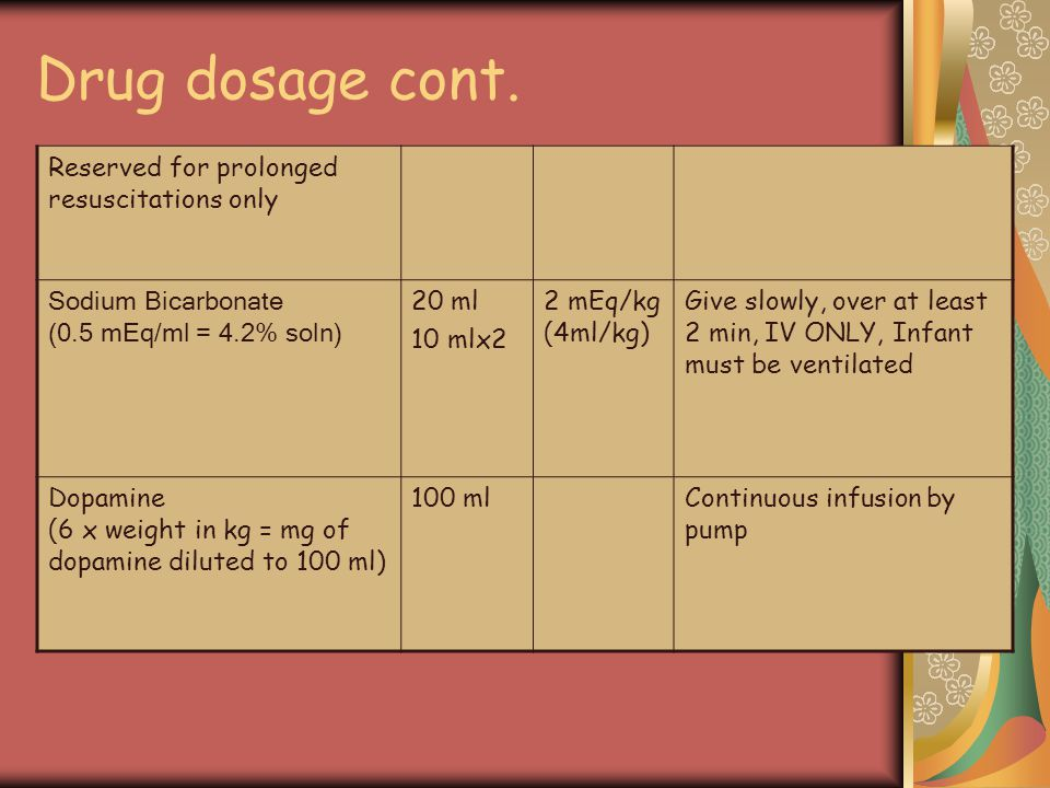 Drug dosage cont. Reserved for prolonged resuscitations only