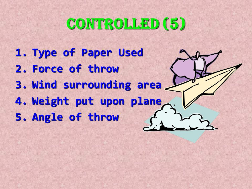 Controlled (5) Type of Paper Used Force of throw Wind surrounding area