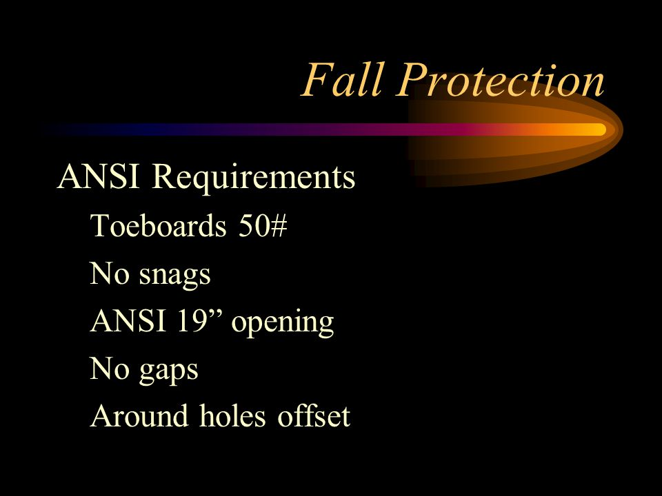 Fall Protection ANSI Requirements Toeboards 50# No snags