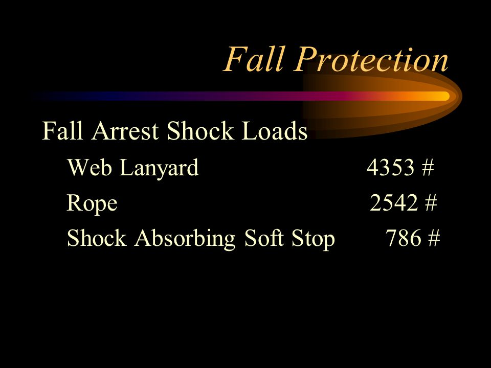 Fall Protection Fall Arrest Shock Loads Web Lanyard 4353 # Rope 2542 #