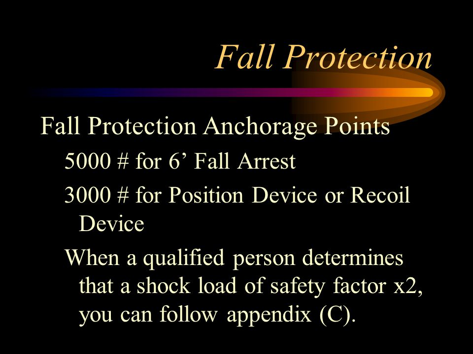 Fall Protection Fall Protection Anchorage Points