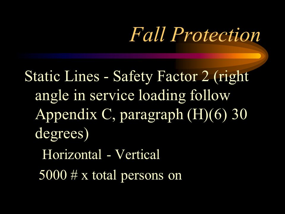 Fall Protection Static Lines - Safety Factor 2 (right angle in service loading follow Appendix C, paragraph (H)(6) 30 degrees)