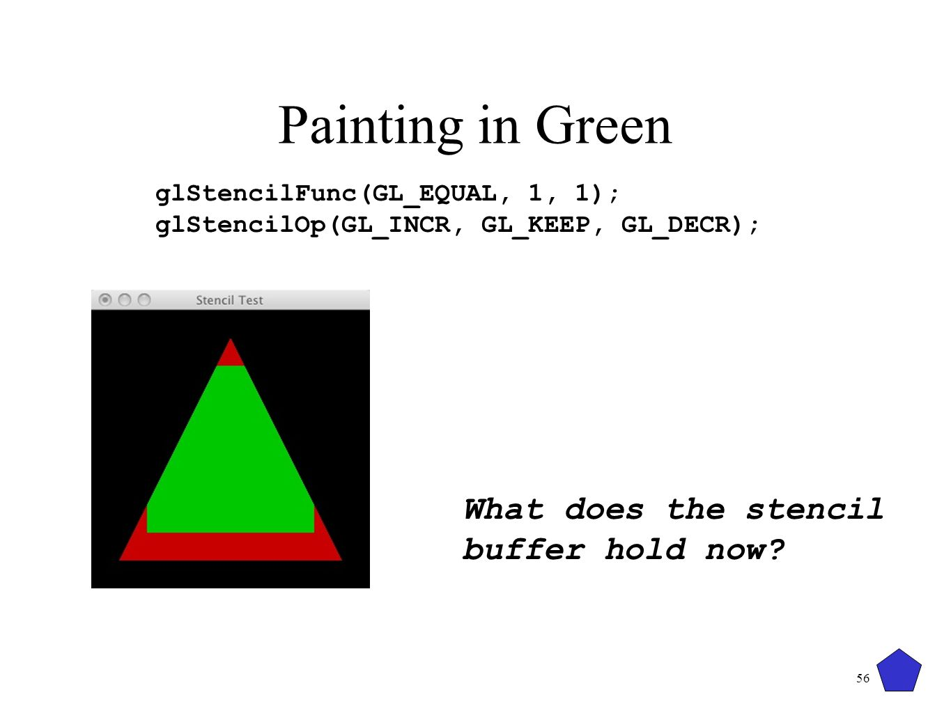 Painting in Green What does the stencil buffer hold now