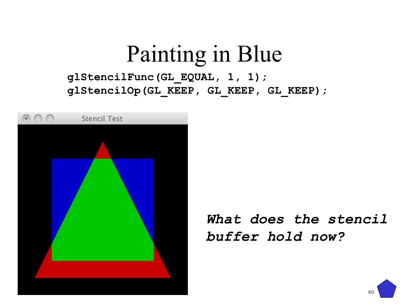 Painting in Blue What does the stencil buffer hold now