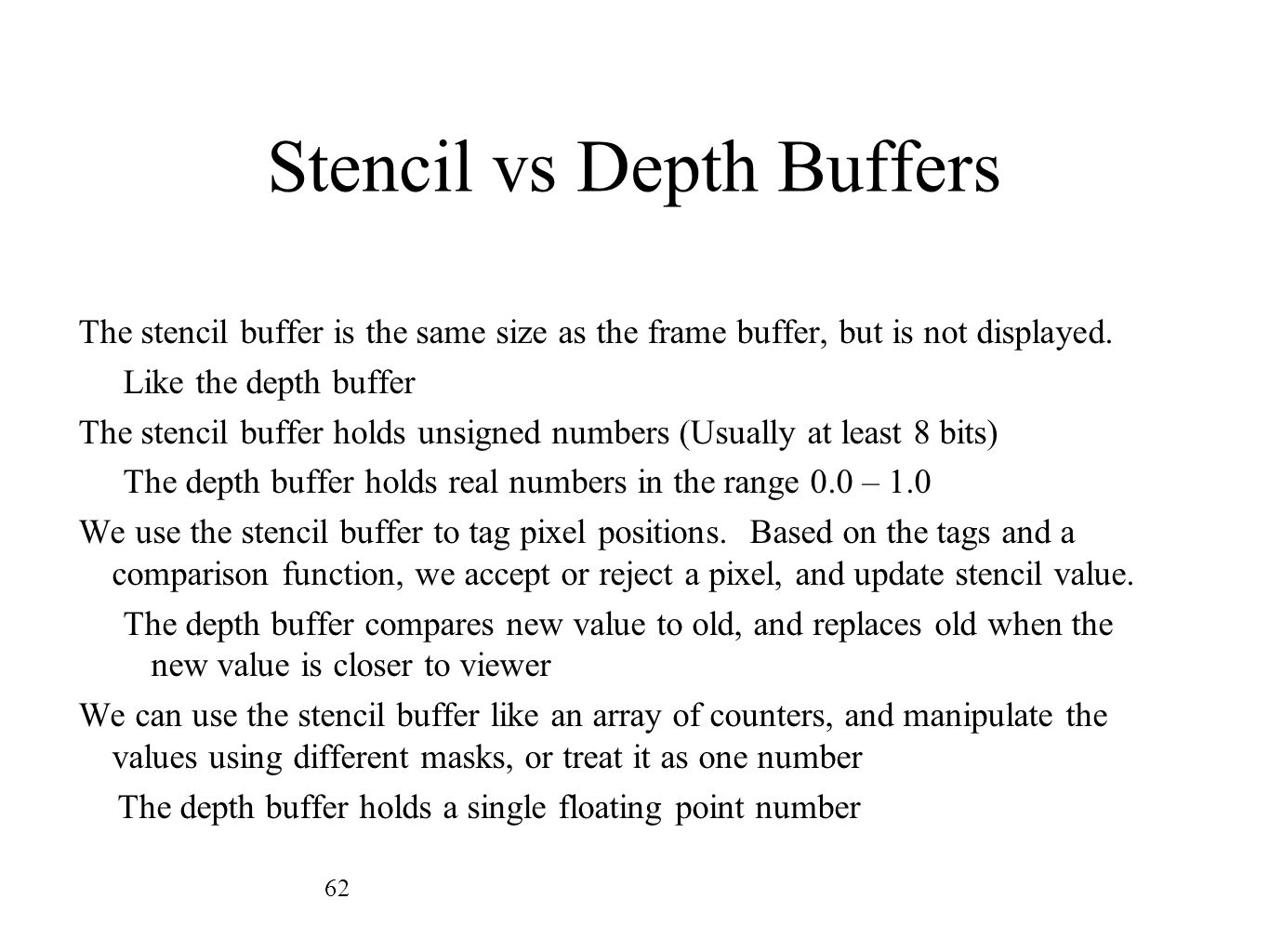Stencil vs Depth Buffers