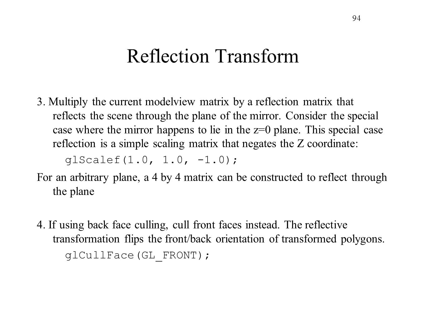 94 Reflection Transform.