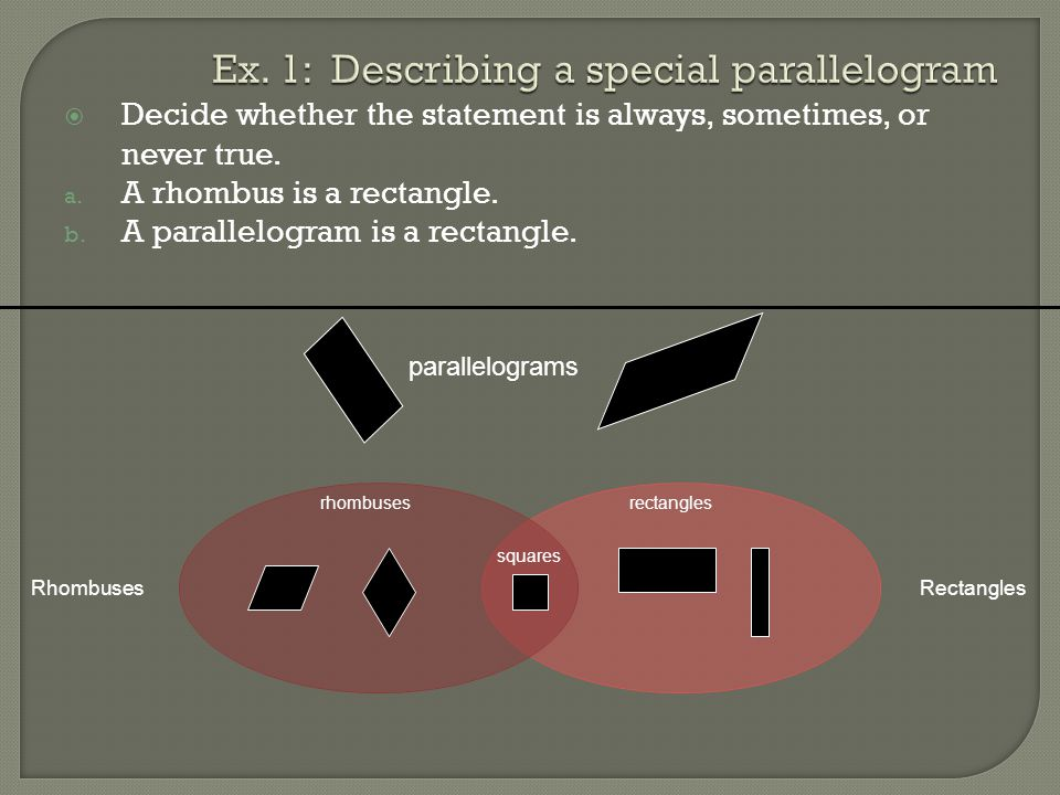 Ex. 1: Describing a special parallelogram