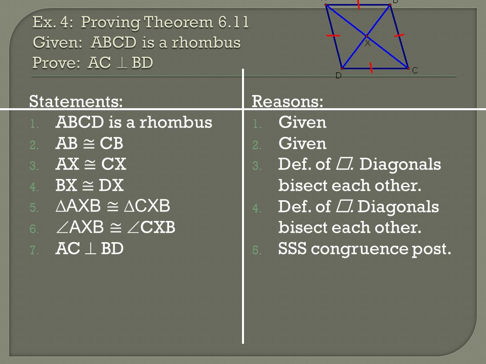 Ex. 4: Proving Theorem 6.11 Given: ABCD is a rhombus Prove: AC  BD