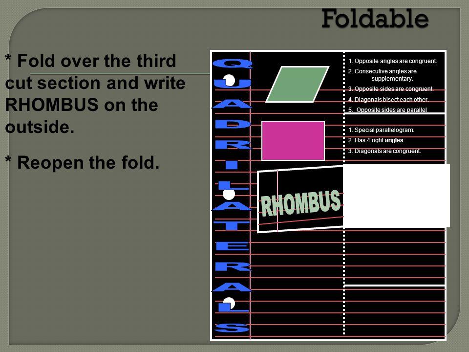 Foldable QUADRILATERALS RHOMBUS