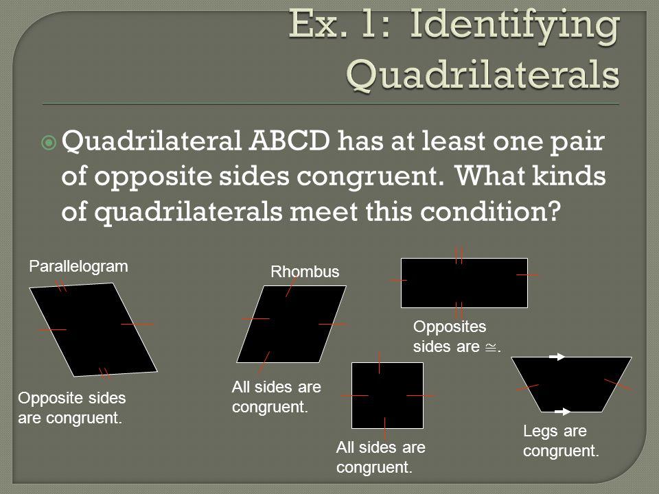 Ex. 1: Identifying Quadrilaterals