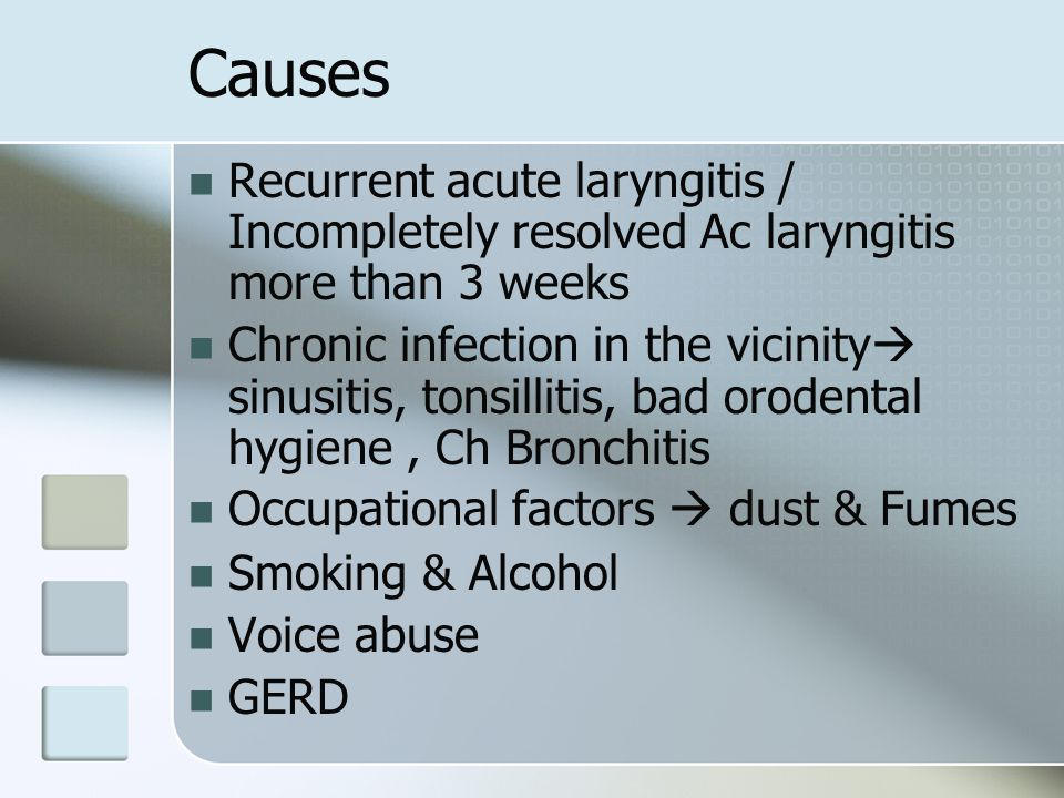 Causes Recurrent acute laryngitis / Incompletely resolved Ac laryngitis more than 3 weeks.