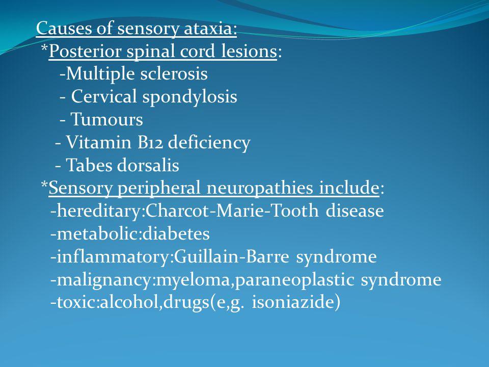 Causes of sensory ataxia:
