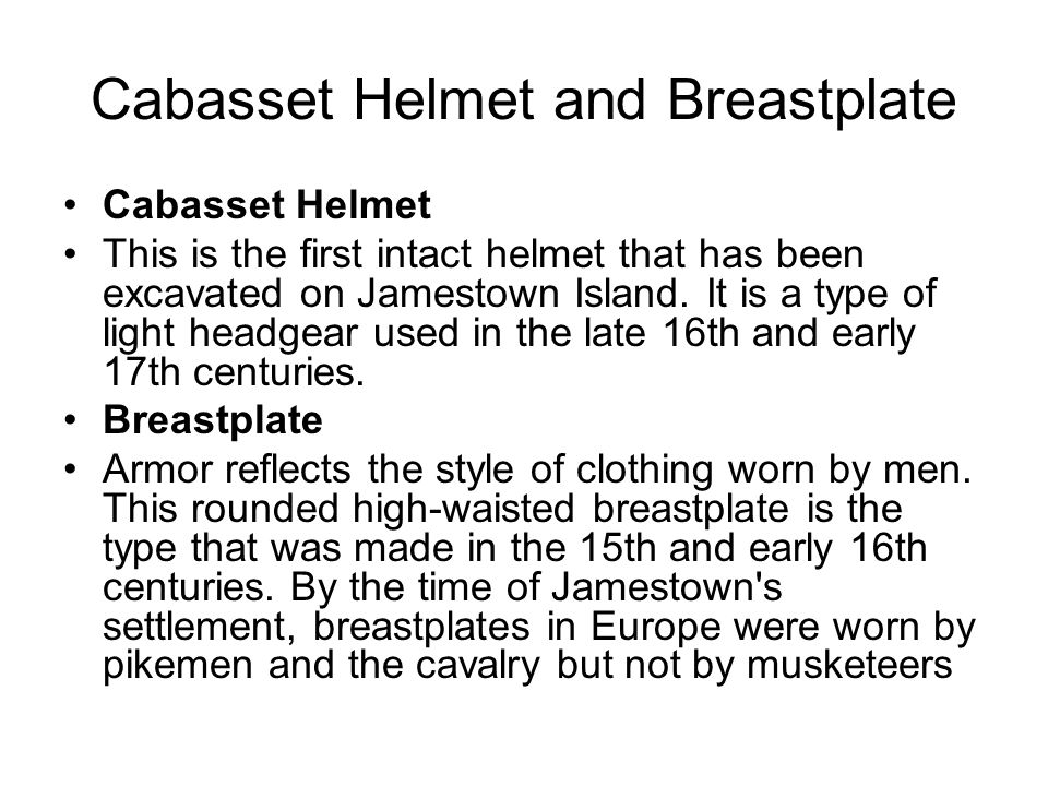 Cabasset Helmet and Breastplate