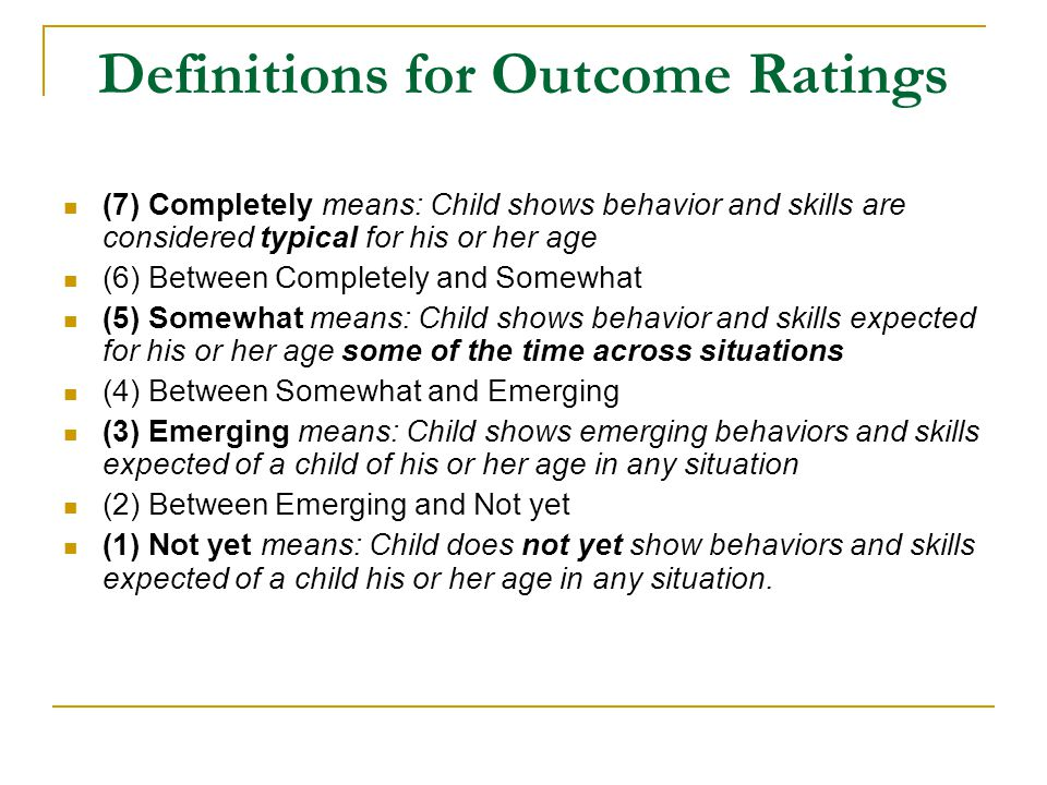 Definitions for Outcome Ratings