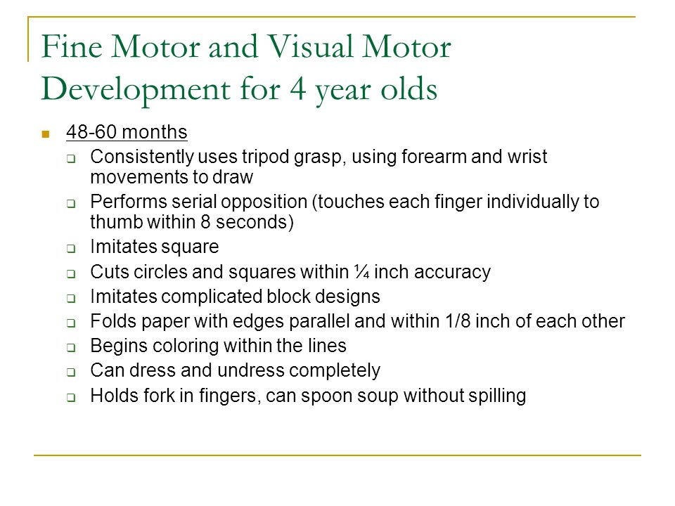 Fine Motor and Visual Motor Development for 4 year olds