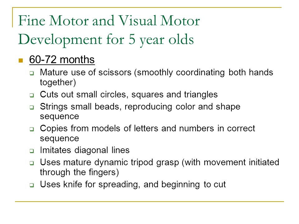 Fine Motor and Visual Motor Development for 5 year olds