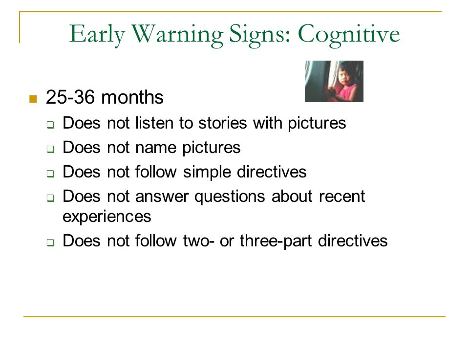 Early Warning Signs: Cognitive