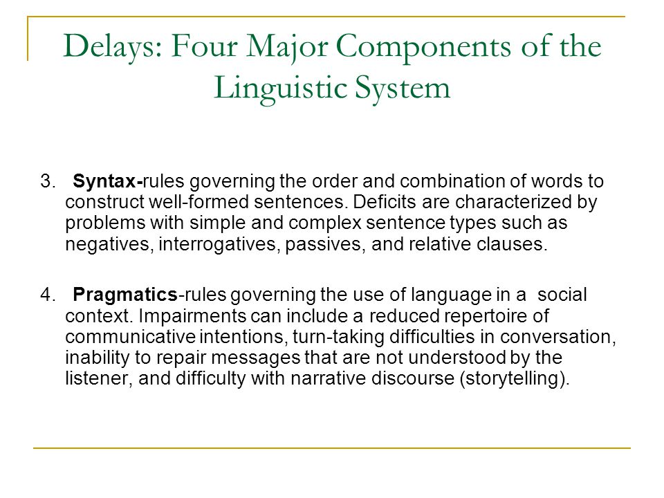 Delays: Four Major Components of the Linguistic System