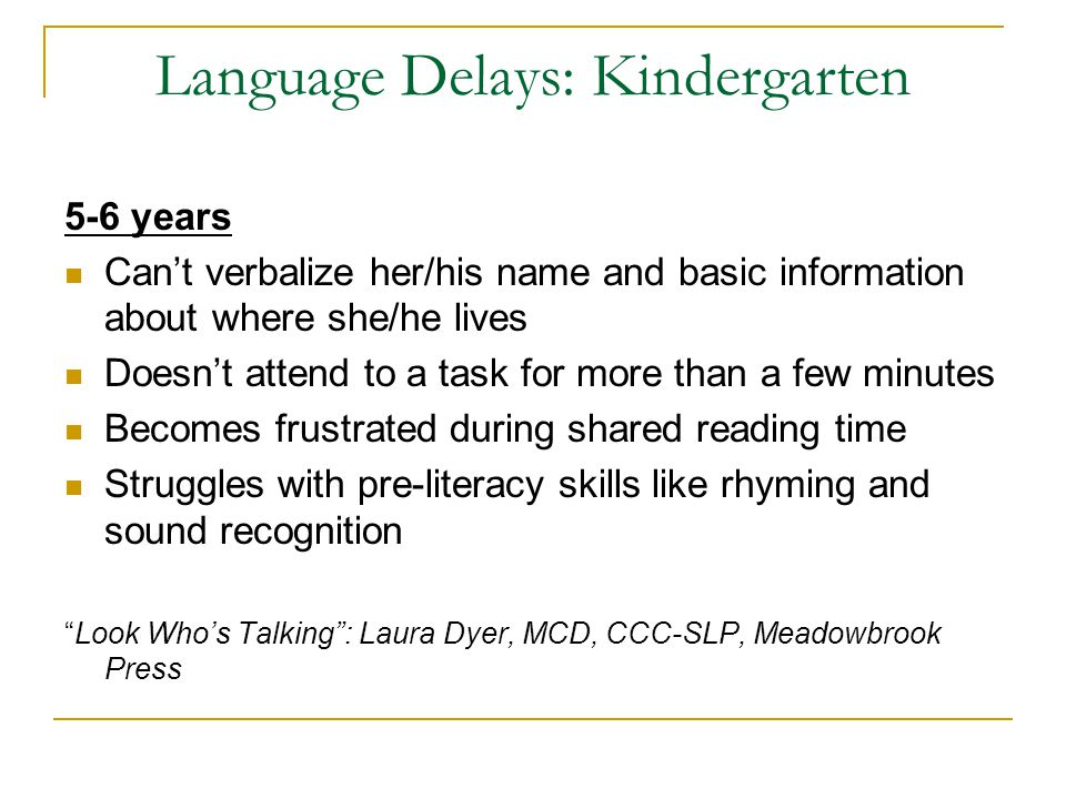 Language Delays: Kindergarten