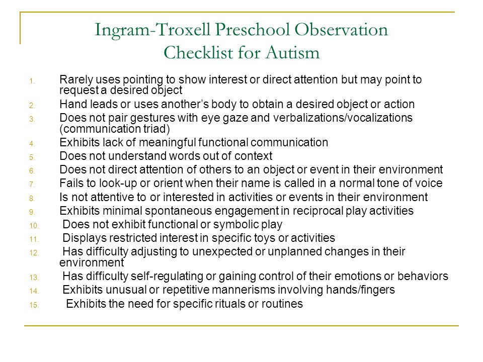 Ingram-Troxell Preschool Observation Checklist for Autism