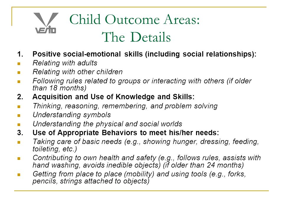 Child Outcome Areas: The Details