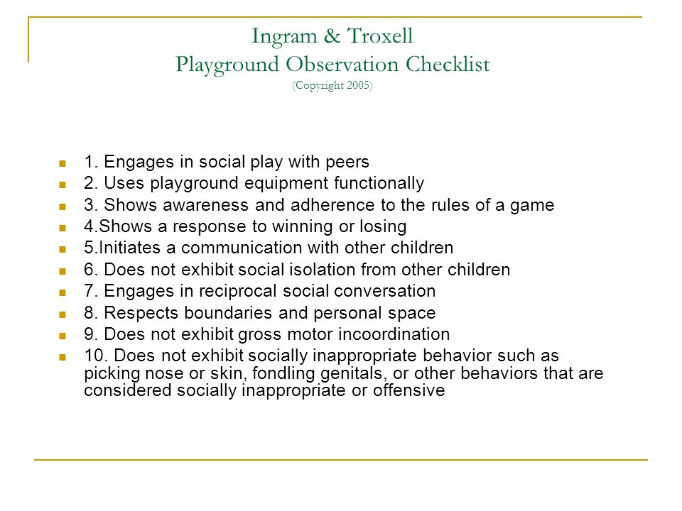 Ingram & Troxell Playground Observation Checklist (Copyright 2005)